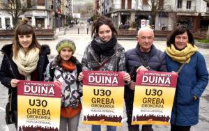 Odei Mujika (Oiartzungo Feministen Asanblada), Ainhoa Arretxe (ELA), Olaia Matxain (Gazte Mugimendua), Joxe Mari Uria (pentsioduna) eta Kristina Gete (LAB)