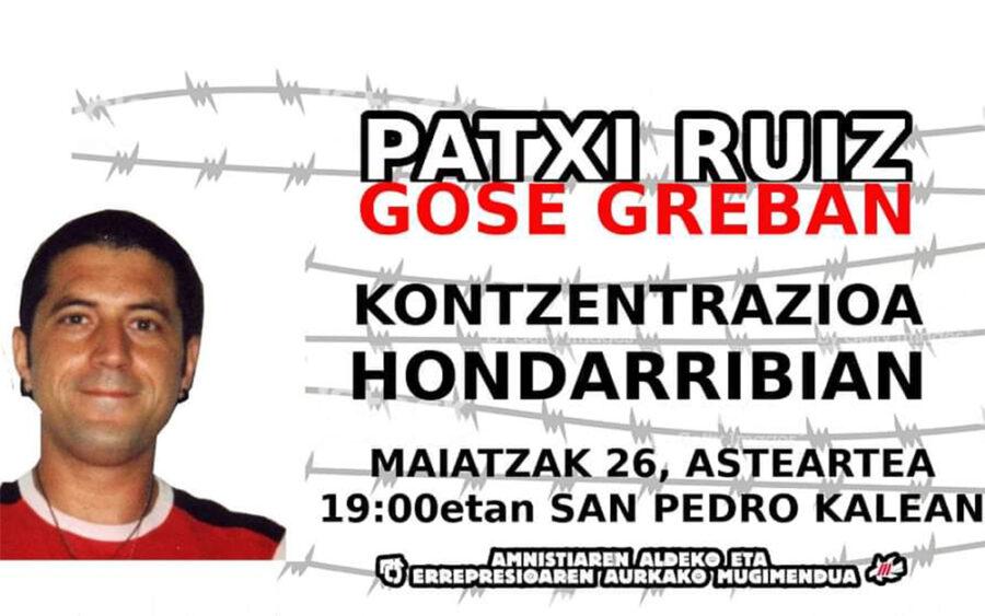 PAtxi Ruiz euskal presoaren alde mobilizatuko dira bihar Portuan, 19:00etan.